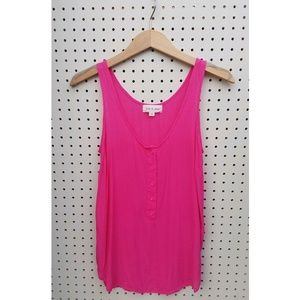 Cloth & Stone pink 100% rayon 1/2 button up tank